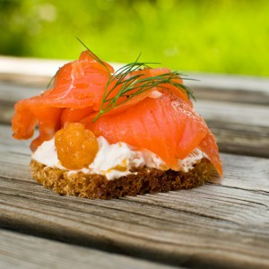 Salmon and rye bread